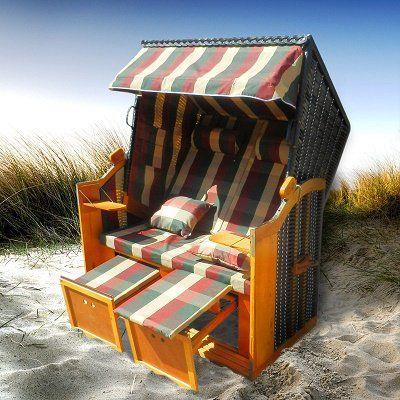 Brast Strandkorb aus Polyrattan mit 2 Fußbänken für 211,65€
