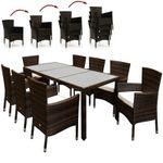 17-teilige Polyrattan Sitzgruppe in Braun für 322,96€ (statt 380€)