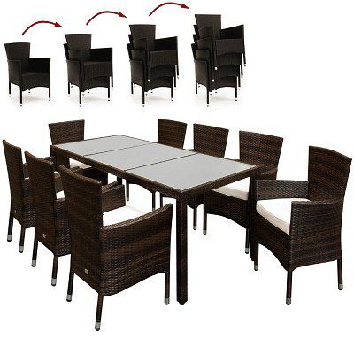 17 teilige Polyrattan Sitzgruppe in Braun für 322,96€ (statt 380€)