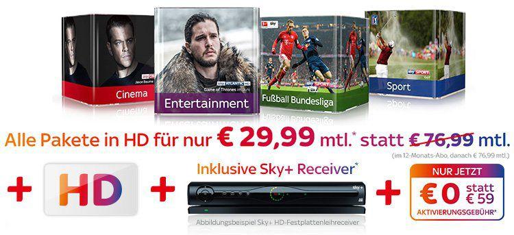 Alle Sky Pakete in HD (Cinema, Sport, Bundesliga, Entertainment) nur 29,99€ mtl. + keine Aktivierungsgebühr