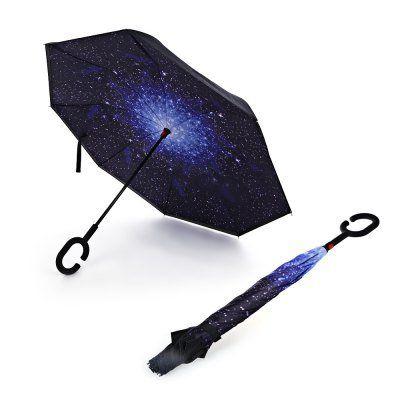 Regenschirm mit Windschutz & umgekehrter Öffnung für 12,33€