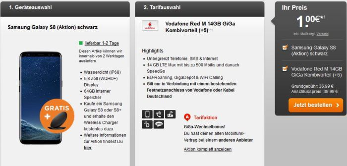 Knaller! Vodafone Red M Gigakombi mit 4GB LTE für 31,99€ mtl. + Samsung Galaxy S8 (oder iPhone 7) nur 1€   nur Vodafone DSL oder KD Kunden!