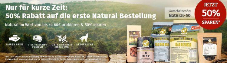 50% Rabatt auf Natural Hundefutter (MBW: 60€)