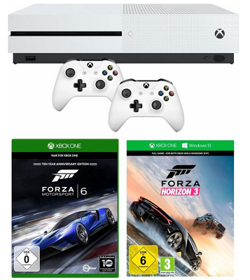 Xbox One S (500 GB)  + 2. Controller + Destiny 2 + Forza Horizon 3 + Forza 6 für 239,99€ (statt 353€)