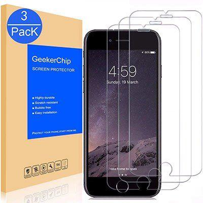 3er Set Panzerglasfolien für iPhone 6/6S für 3,59€   Prime