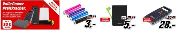 Media Markt: Powerbank Preiskracher   z. B. REALPOWER PB 260 Alu Powerbank 2600 mAh für 4€