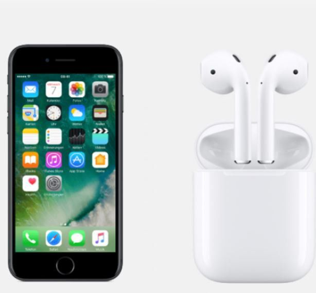 iPhone 7 + Apple AirPods + O2 Free M Allnet Flat mit 6GB LTE Daten + SKY Ticket 6 Monate für 42,90€