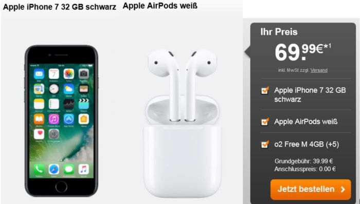 iPhone 7 + Apple AirPods + O2 Free M Allnet Flat mit 6GB LTE Daten + SKY Ticket 6 Monate für 42,90€