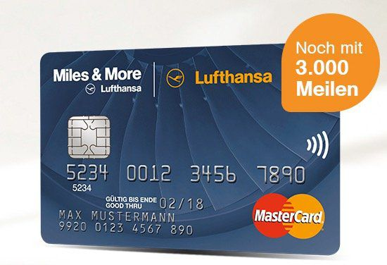 Miles & More Blue World Mastercard mit 3.000 Prämienmeilen + 50€ Lufthansa Gutschein