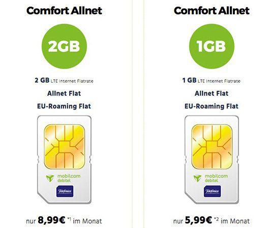 mobilcom Comfort Allnet Flats mit 1GB oder 2GB LTE ab 5,99€ mtl.   Vodafone oder o2!