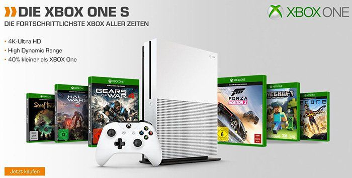Xbox One S 500GB + 2. Controller inkl. 7 Spiele für 283,99€ (statt 354€)