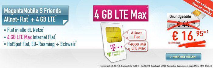 TOP! Telekom Magenta Mobile S Friends mit 4GB LTE nur 16,95€ mtl.