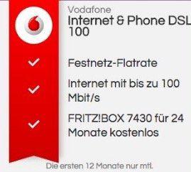 Vodafone Red 100 DSL für 29,99€ mtl. + gratis Fritzbox 7430 + 260€ Auszahlung