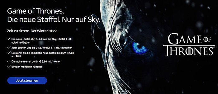 2 Monate Sky Entertainment Ticket inklusive der neuen Game of Thrones Staffel für 2€