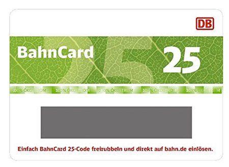 BahnCard 25 Geschenkkarte (für Reisende zwischen 27 und 59 Jahren) für 49,50€ (statt 62€)