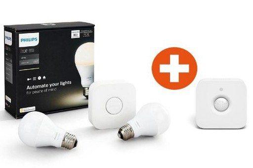 Philips Hue White Starter Set mit zwei E27 Lampen inkl. Bridge + Bewegungssensor für 79€ (statt 111€)