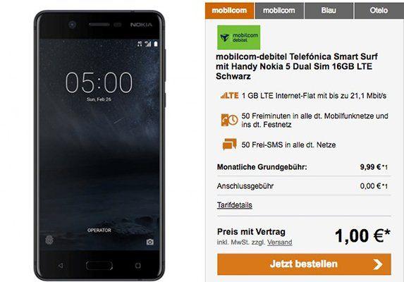 Nokia 5 Dual Sim Smartphone für 1€ + o2 Smart Surf mit 1GB LTE für 9,99€ mtl.