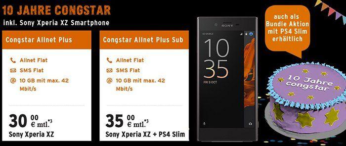 Sony Xperia XZ + PS4 slim 1TB für 79€ + Congstar Allnet Flat mit 10GB für 38,71€ mtl.