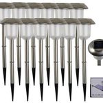 12er Pack Edelstahl LED Solarleuchten mit Erdspieß für 13,90€