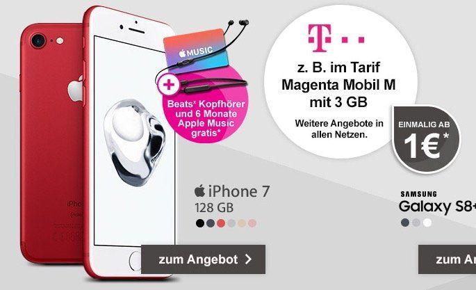 iPhone 7 mit 128GB für nur 1€ + Telekom Magenta Mobil M mit 3GB LTE für 53,74€ mtl. + Apple Music 6 Monate gratis + Beats Kopfhörer gratis