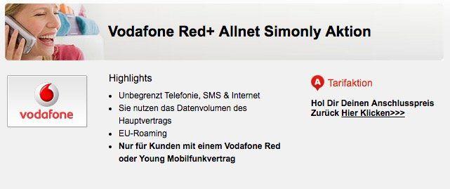 Abgelaufen! Vodafone Red+ Partnerkarte für effektiv 5€ mtl.   nur für bestehende Vodafone Red oder Young Kunden!