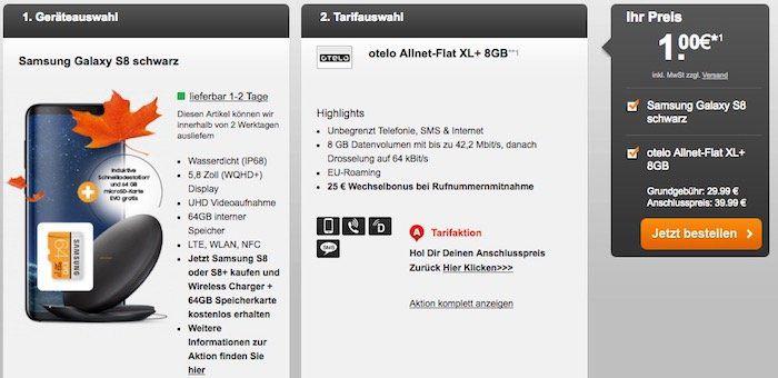 otelo (Vodafone) Flat mit 8GB für 29,99€ mtl. + Samsung Galaxy S8 für 1€ + gratis Wireless Charger und 64GB Speicherkarte
