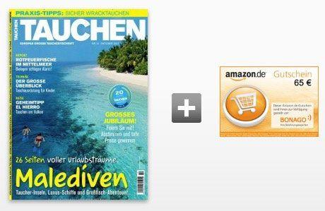Jahresabo Tauchen für 74,40€ + 65€ Amazon Gutschein