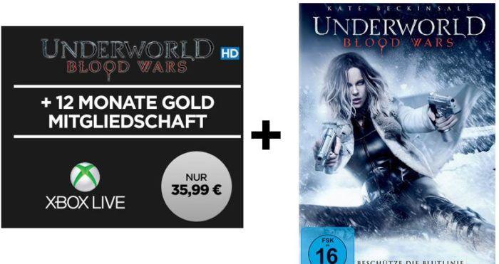 12 Monate Xbox Live Gold + Underworld Blood Wars HD Stream für 35,99€
