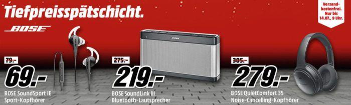 Media Markt Bose Tiefpreisspätschicht   z. B. BOSE SoundLink Bluetooth Mobile Speaker III statt 289€ für 219€