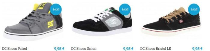 DC Damen und Herren Schuhe in Restgrößen für 9,95€