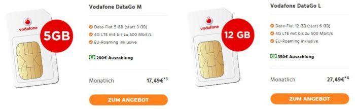 Vodafone: 5GB LTE Daten (bis 500 Mbit/s) für 10,99€ mt.   12GB für 14,99€ oder Telekom 4GB (150 Mbit/s) für 9,99€   10 GB für 13,99€