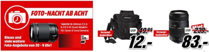 Media Markt Foto Late Night: günstige Objektive und Zubehör z.B. TAMRON AF 70 300mm Telezoom Objektiv  für 83€