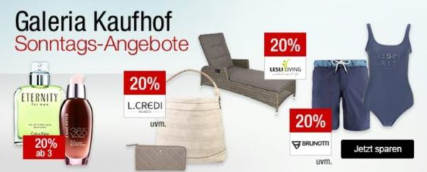 Galeria Kaufhof Sonntagsangebote   z.B. 15% Rabatt auf Uhren, Rum und Tequila   20% Rabatt auf Gläser und Bestecke von Villeroy & Boch