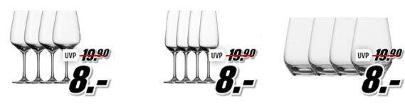 Media Markt: Vivo by Villeroy & Boch Aktion. Günstige Gläser und Geschirr   z.B. 4 Wein, Sekt Gläser für je Set 8€