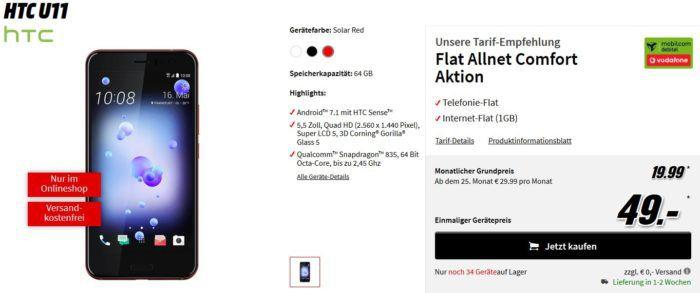 HTC U11 Rot + Vodafone AllNet und 1GB Daten Flat für nur 23,70€ mtl.   eff. mit Gewinn