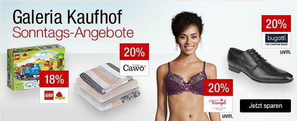 Galeria Kaufhof Sonntagsangebote   z.B. 20% auf Confed Cup Artikel von adidas, Herrenbekleidung, Rosewein   18% auf Lego DUPLO und mehr