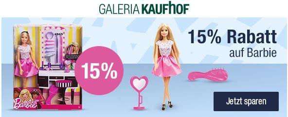 Galeria Kaufhof mit 15% Rabatt auf Gesellschaftsspiele und BARBIE mit Zubehör