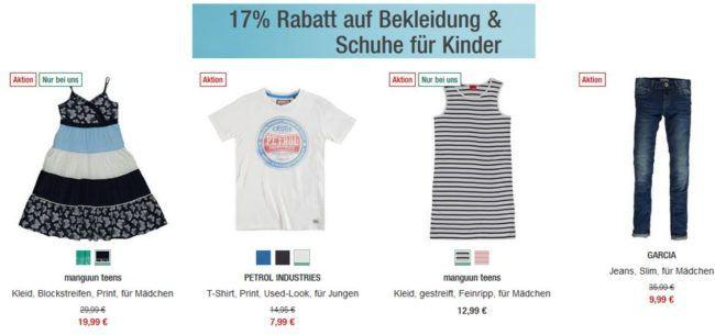 Galeria Kaufhof mit bis 17% Extra Rabatt bei Baby & Kinderbekleidung ab 100€