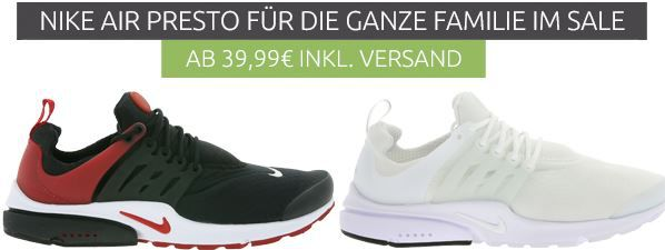 Schnell? NIKE Air Presto Sneaker für Damen ab 39,99€   für Herren statt 100e für 69,99€