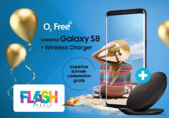 Samsung Galaxy S8 + gratis Ladestation + O2 AllNet Flat + 15GB LTE + endlos surfen mit 1Mbits  39,99€ mtl.   Sky Ticket für 6 Monate gratis dazu!