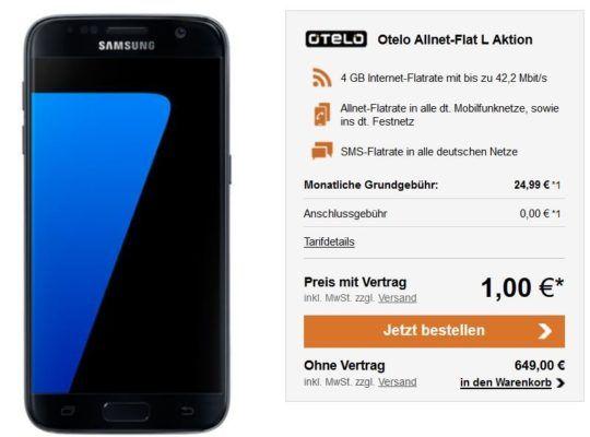 Galaxy S7 oder iPhone 7 (32 GB) + otelo Allnet Flat XL mit 2 oder 8GB ab 24,99€ mtl.