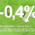 Smava Kredit über 1.000€ mit -0,4% Jahreszins – unter Null Prozent!