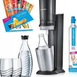 SodaStream Crystal 2.0 Wassersprudler Set mit 2 Glaskaraffen + 2 Trinkgläser + 6 x Sirup für 111€