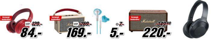Media Markt Marken Sparen: günstige Kopfhörer und BT Lautsprecher von Sony, JBL, Marshall und Yurbuds ab 5€