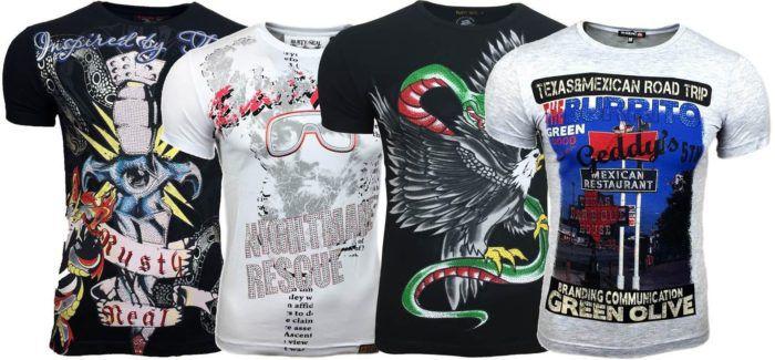 Avroni Herren rundhals T Shirts mit Motiven Strass für je 9,99€