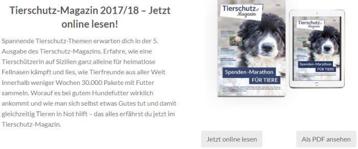 """Aktuelle Ausgabe """"Tierschutz Magazin"""" gratis lesen (Print/Digital) – keine Kündigung notwendig"""