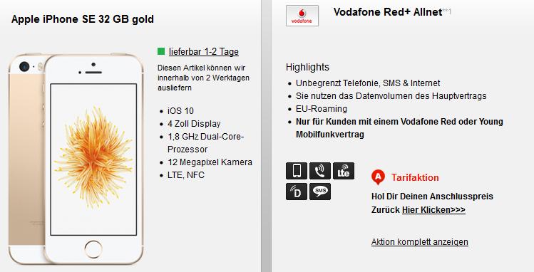 Vodafone Red+ Partnerkarte für 15€ mtl. + iPhone SE 32 GB oder Galaxy A5 (2017) für 4,95€   nur Bestandskunden