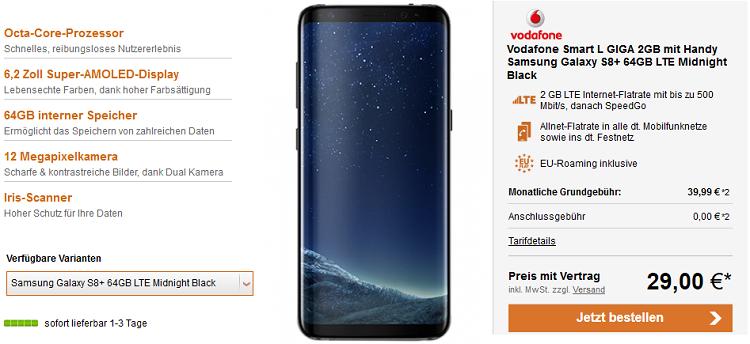 Vodafone Smart L GIGA mit 2GB für 39,99€ mtl. + Galaxy S8+ für 29€