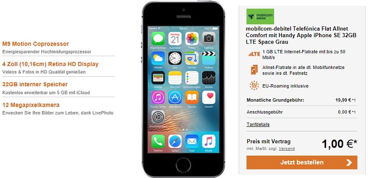 mobilcom debitel Telefónica Comfort Allnet Flat mit 1 GB LTE für 19,99€ mtl. + Apple iPhone SE 32 GB für 1€