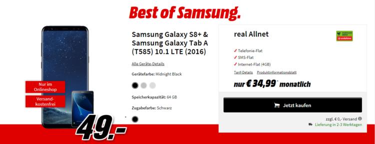 Vodafone 4GB Tarif für 36,65€ mtl. + Samsung Galaxy S8 plus und Galaxy Tab A 10.1 für 49€ + 50€ Cashback